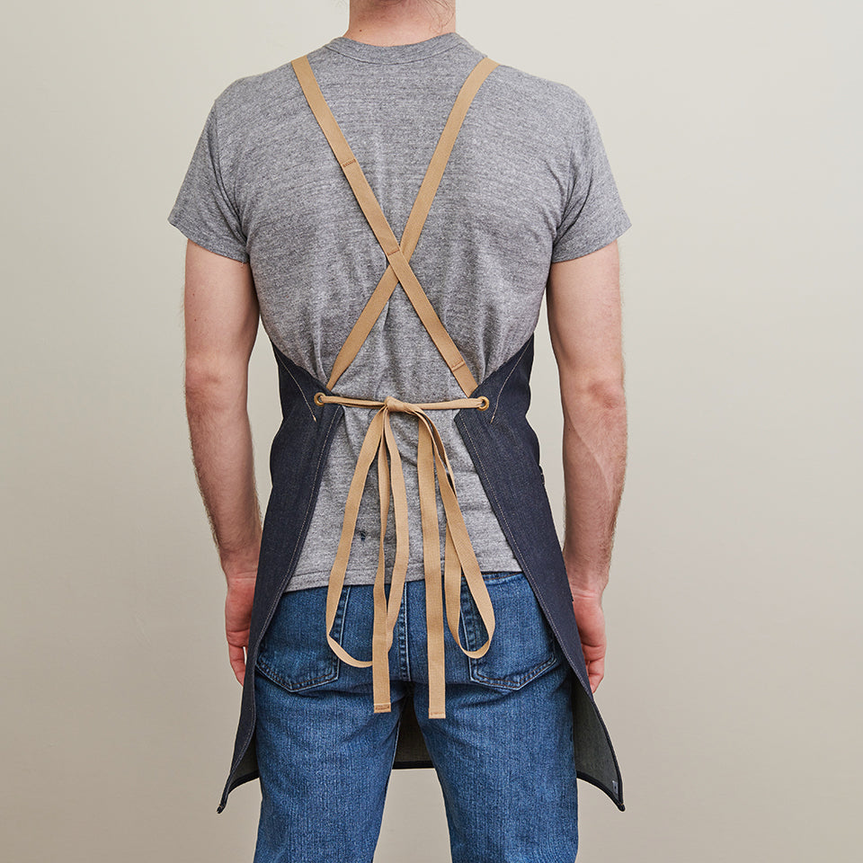 Kurabo Denim Apron w/ Cotton Cross-Back Ties 2