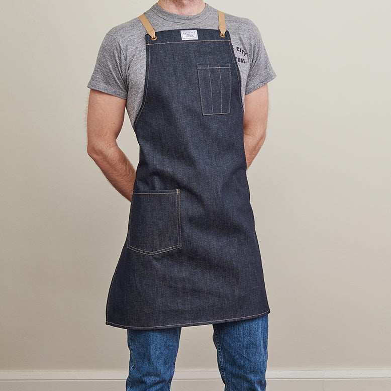 Kurabo Denim Apron w/ Cotton Cross-Back Ties 3