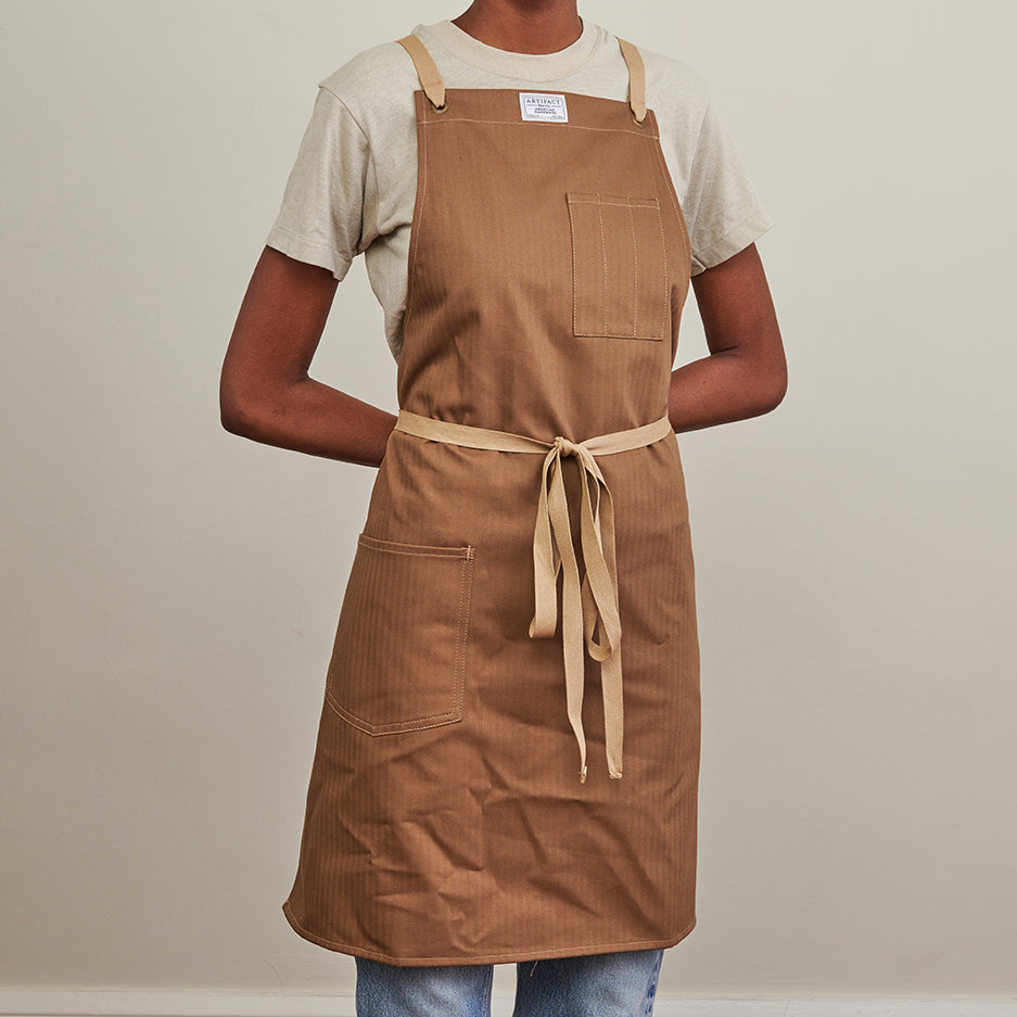 Artifact Khaki Herringbone Twill Apron w/ Cotton Cross-Back Ties