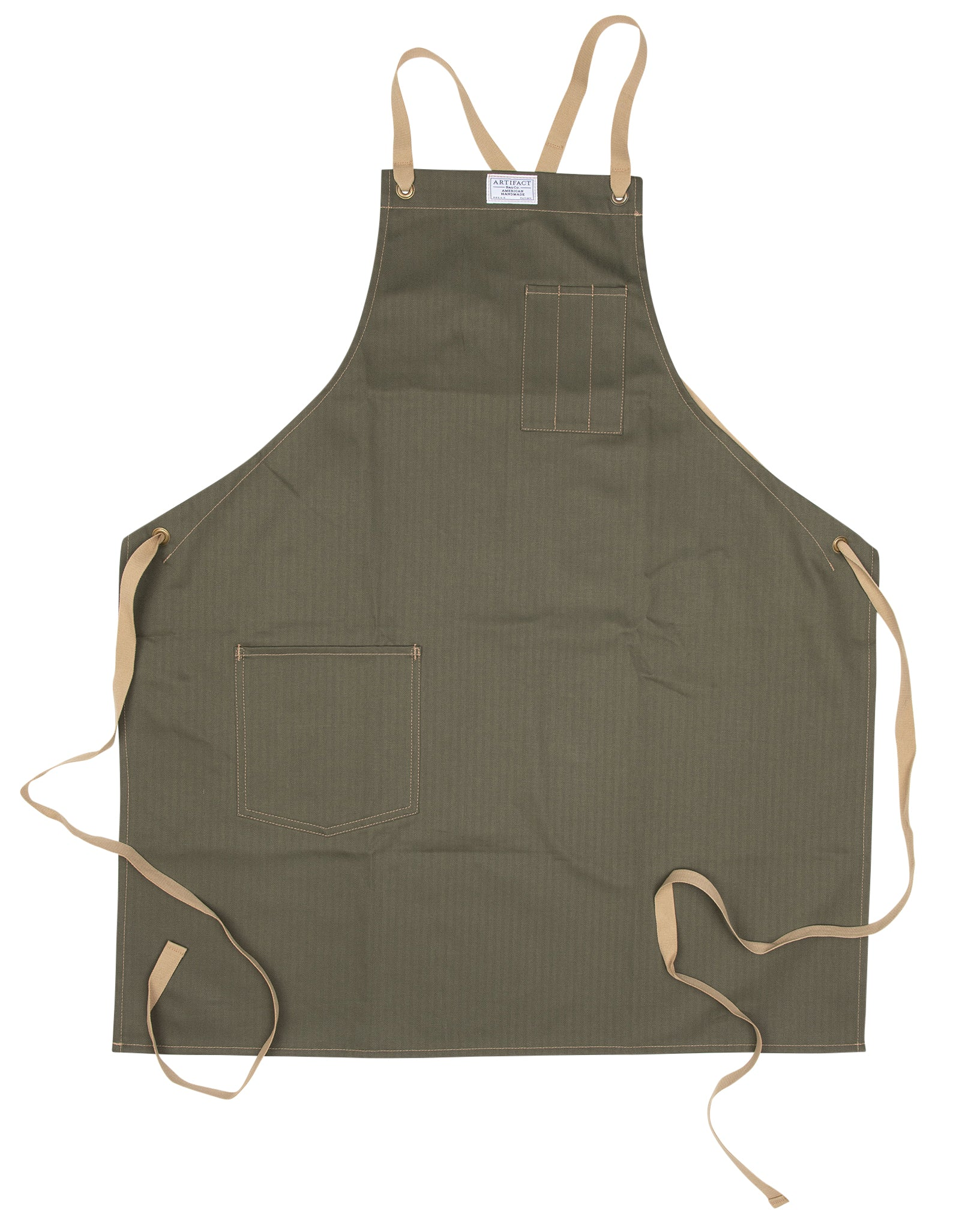 Artifact Black Herringbone Twill Apron w/ Cotton Cross-Back Ties