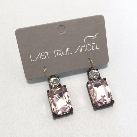 Gem Drop Earrings in Light Pink