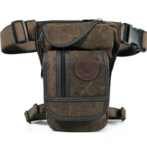 Canvas Riding Leg Bag - Brown - 127808008