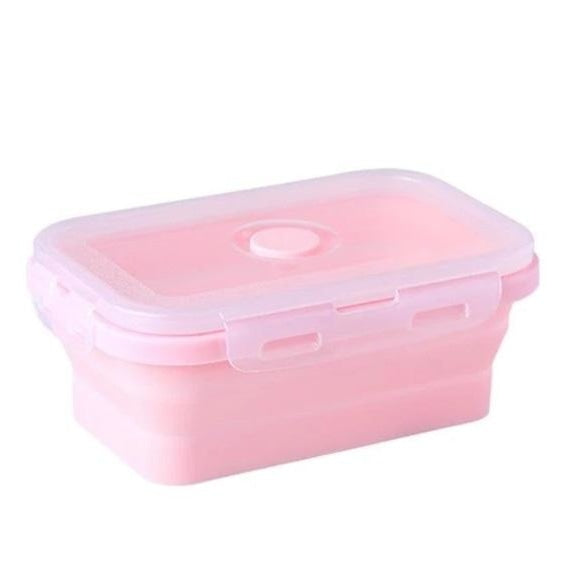 Collapsible Silicone Lunch Box - pink lunch box