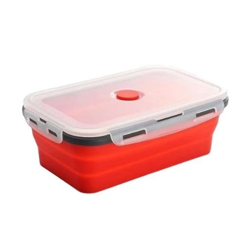 Collapsible Silicone Lunch Box - red lunch box