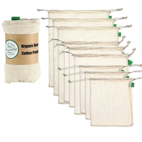 Cotton-Mesh Produce Bags - 9 Piece Set