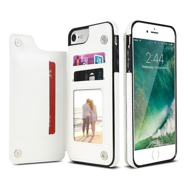 Magnetic Iphone Wallet - For iPhone X / White