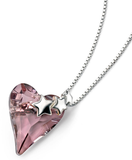 Quirky Pink Crystal Heart Pendant with Silver Stars