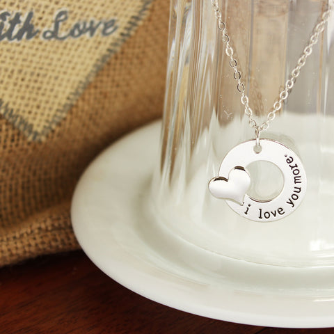 I Love You More Silver Plated Pendant