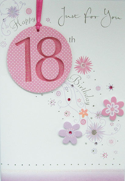 Pink Flowers 18th Birthday Card Female