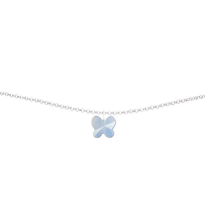Air Blue Opal Crystal Butterfly Handmade Silver Anklet by Love Lily