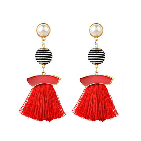 Alexis Red Tassel Earrings