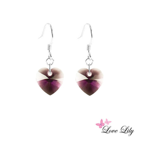 Amethyst Mini Crystal Heart Earrings by Love Lily