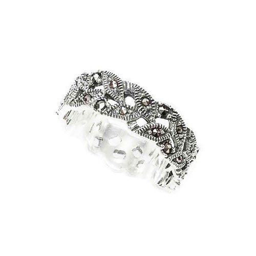 Amore Plaited Leaf Marcasite Ring in Sterling Silver