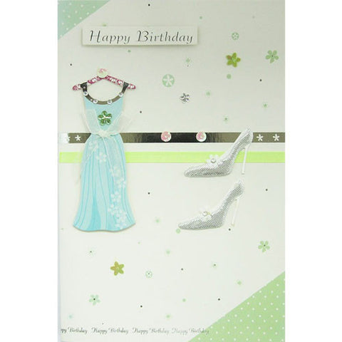 Apple Green Dress and Shoes Happy Birthday Card