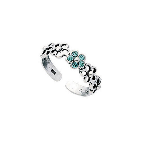 Aqua Crystal Flower Toe Ring