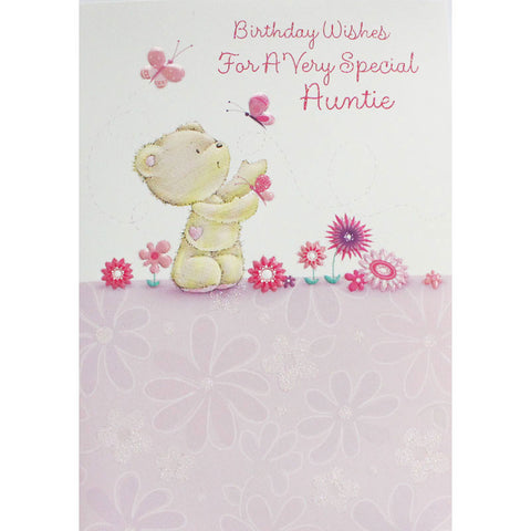 Pink Bear and Butterfly Auntie Birthday Card
