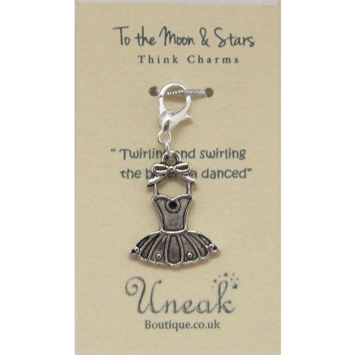 Silver Plated Ballerina Dress Clip Charm