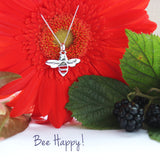 Be Happy Sterling Silver Bee Pendant