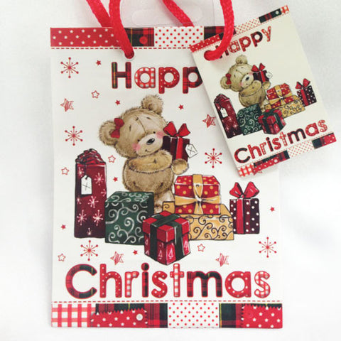 Mini Christmas Bear with Presents Gift Bag