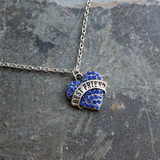 Blue Crystal Heart Best Friend Pendant