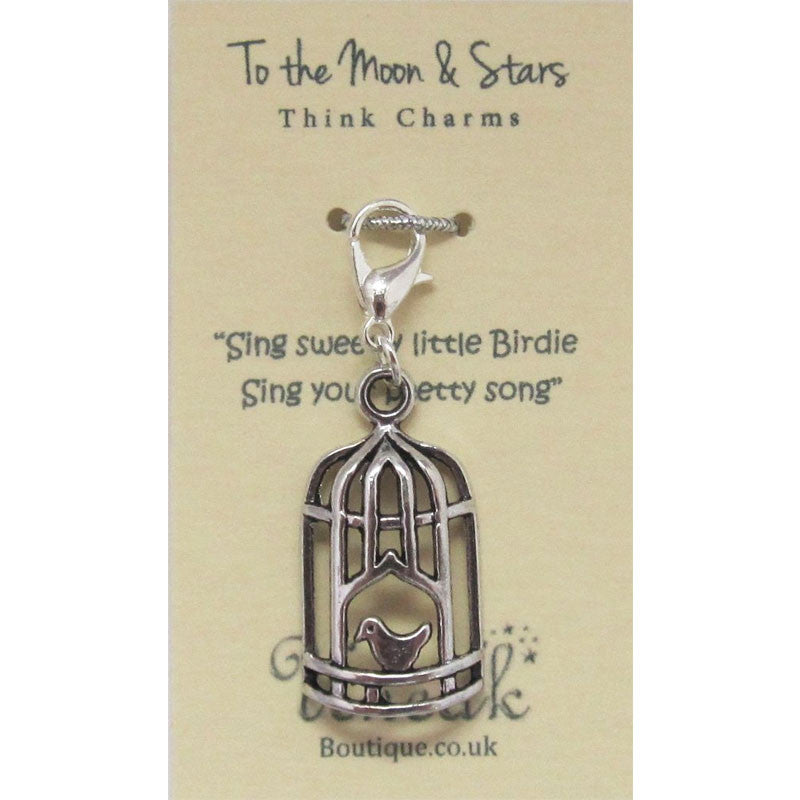 Silver Plated Bird Cage Clip Charm