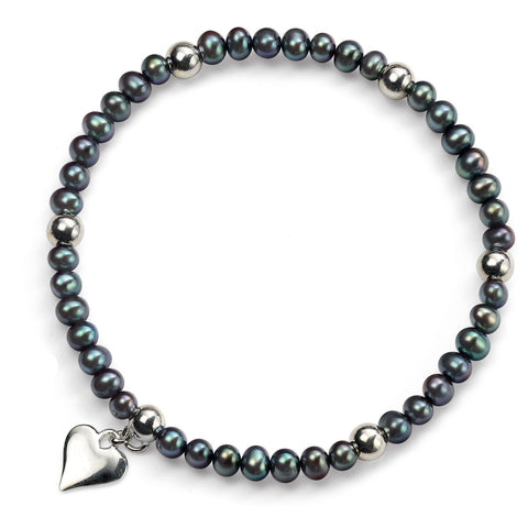 Grey Pearl Bracelet With Heart Charm
