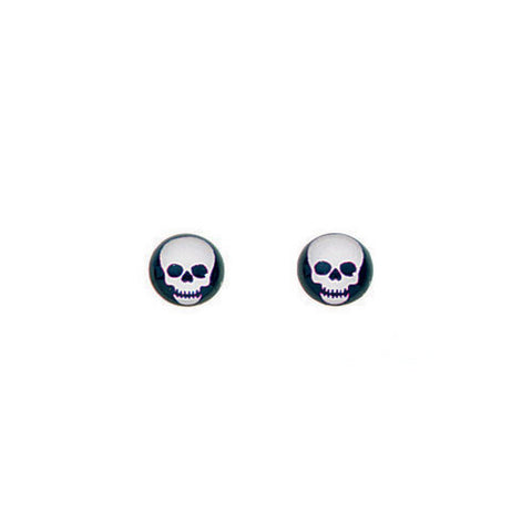 Black and White Resin Skull Boys Earrings