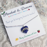 Favourite Teacher Blue Crystal Heart Necklace