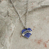 Blue Crystal Heart Sister Pendant