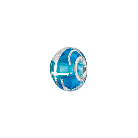 Blue and Silver Foil Glass Charm Bead