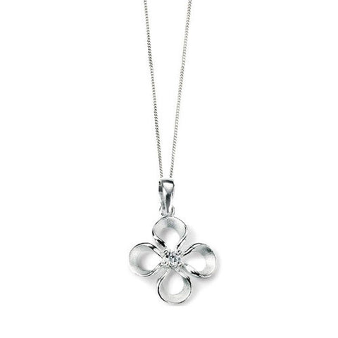 Brushed Silver Four Leaf Mini Pendant with Cubic Zirconia