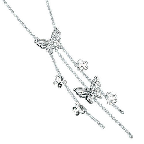 Strands of Silver Butterfly Necklace
