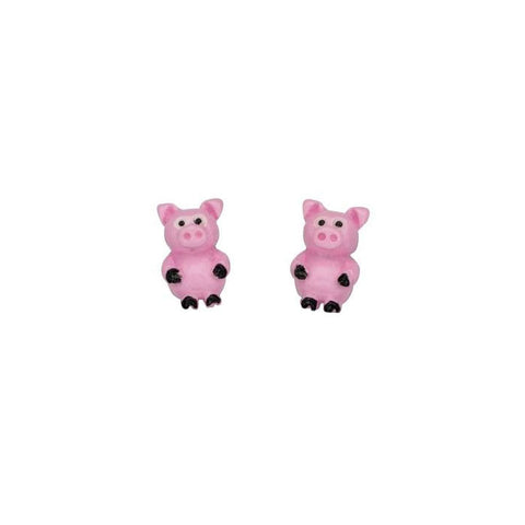 Sterling Silver Pink Pig Stud Earrings