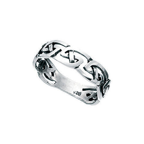 Slim Ladies Silver Celtic Ring