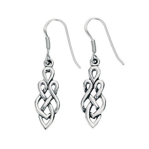 Classic Celtic Drop Silver Earrings