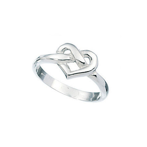 Knotted Celtic Heart Ladies Silver Ring