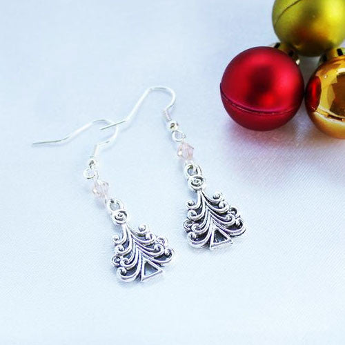 Christmas Tree Charm Earrings with Czech Crystals