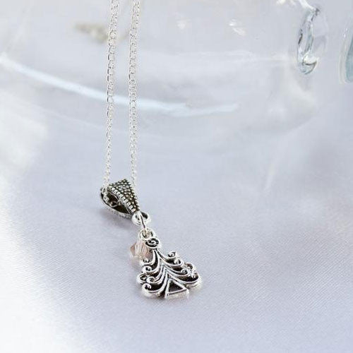 Christmas Tree Charm Necklace with Czech Crystal