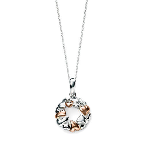Circle of Love Rose Gold Silver Heart Necklace