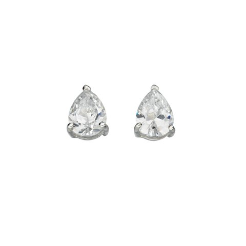 Classic Silver Earrings with Teardrop Cubic Zirconia