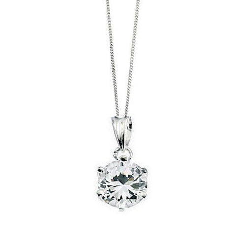 Claw Set Silver Pendant with Cubic Zirconia