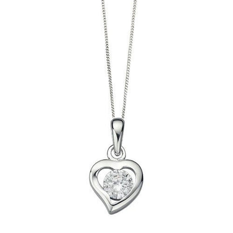 Clear Crystal Silver Heart Pendant