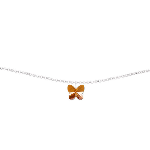 Copper Crystal Butterfly Handmade Silver Anklet by Love Lily