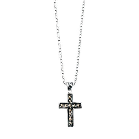Cross Shaped Marcasite Pendant