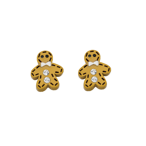 Crystal Gingerbread Man Stud Earrings
