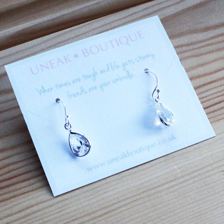 358f62e0b94cb Crystal Raindrops Sterling Silver Earrings - Uneak Boutique