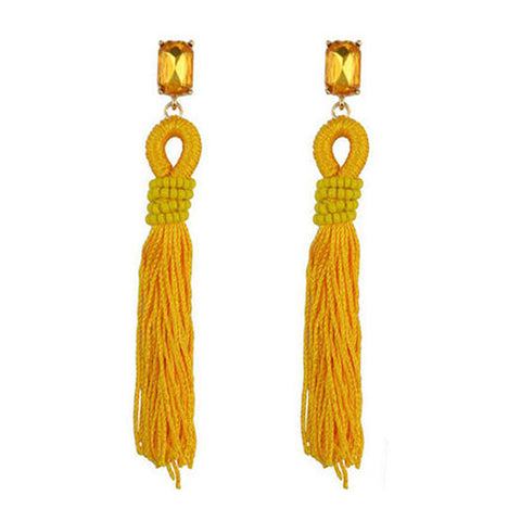Crystal River Yellow Tassel Earrings