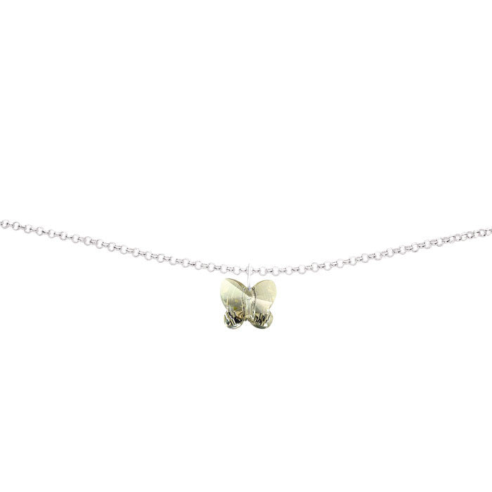 Silver Shade Crystal Butterfly Handmade Silver Anklet by Love Lily
