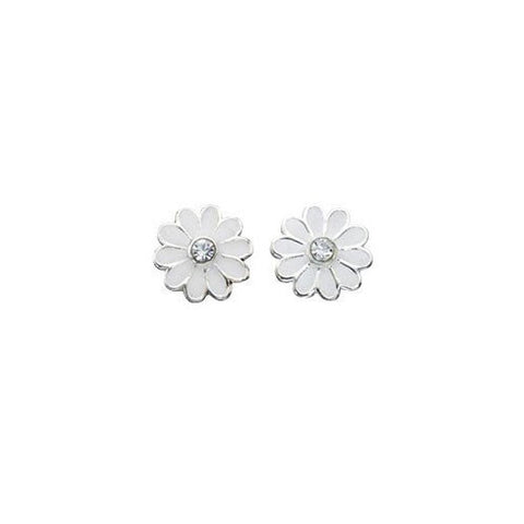 Crystal and White Enamel Daisy Stud Earrings