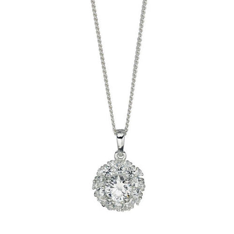 Cubic Zirconia Cluster Pendant in Sterling Silver